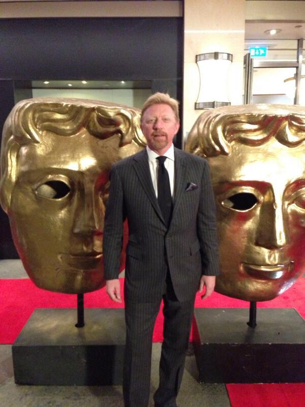 Boris Becker (midden) bij de BAFTA's (Foto: @TheBorisBecker)