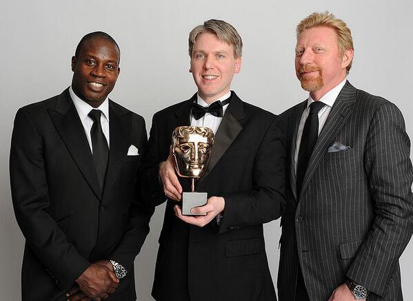 Boris Becker (rechts) met Simon Read en Martin Offiah (Foto: @TheBorisBecker)