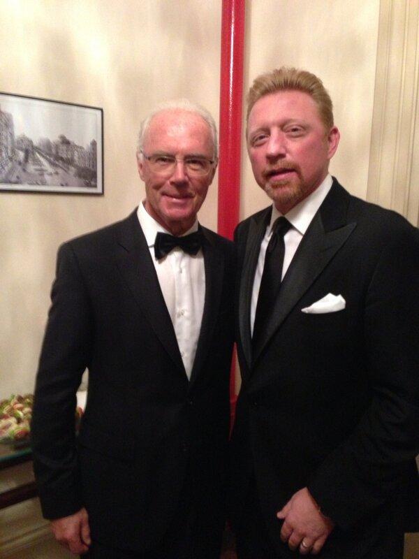 Boris Becker (rechts) met Franz Beckenbauer
