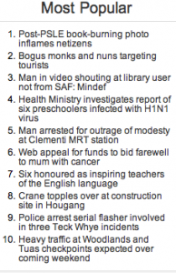 De top tien van de Straits Times