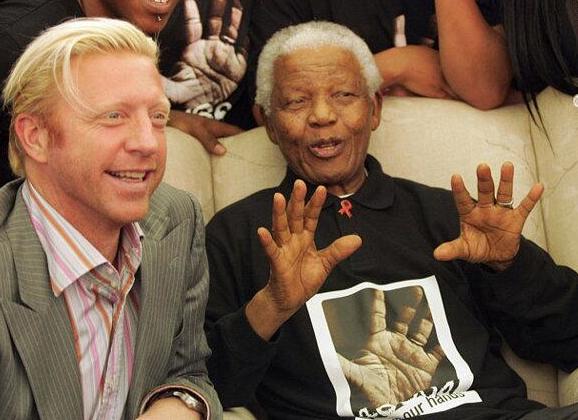 Vlnr: Boris, Nelson Mandela (foto: @TheBorisBecker)