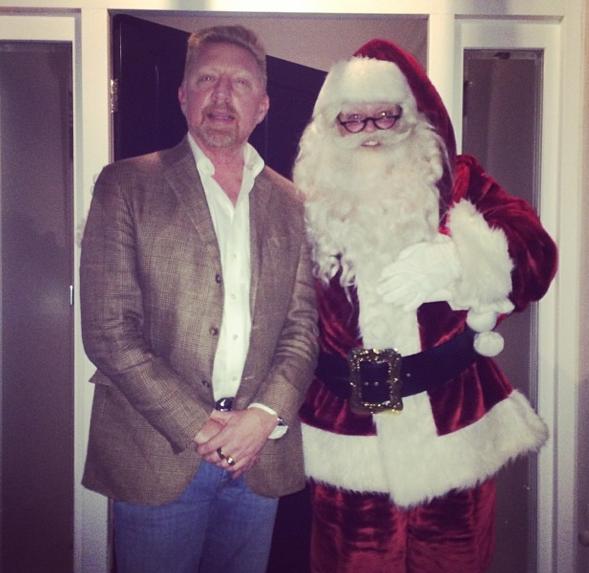 Vlnr: Boris, de kerstman (foto: @TheBorisBecker)