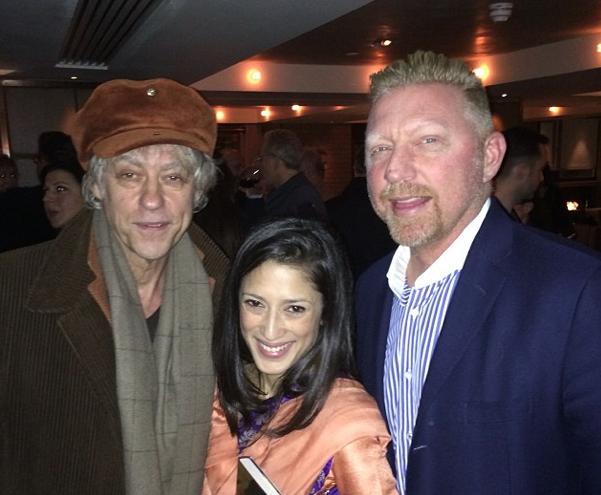 Vlnr: Bob Geldof, Fatima Bhutto, Boris (foto: @TheBorisBecker)