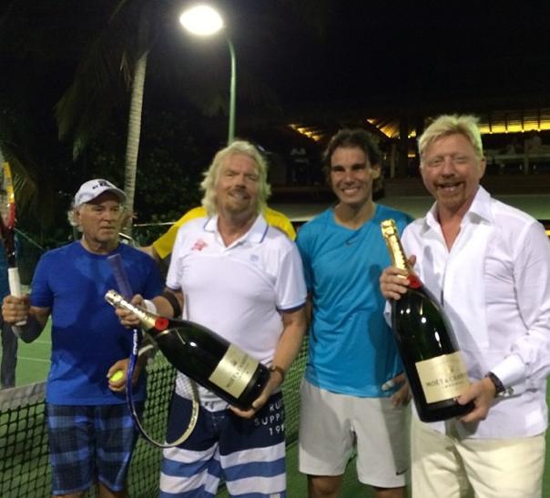 Vlnr: iemand, Richard Branson, Rafael Nadal, Boris (foto: @TheBorisBecker)