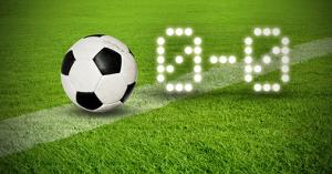 Algemeen plaatje met voetbal (l) en een brilstand